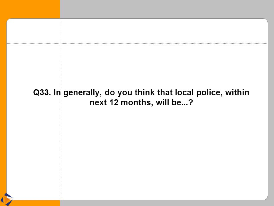 Q33. In generally, do you think that local police, within next 12 months, will be...?
