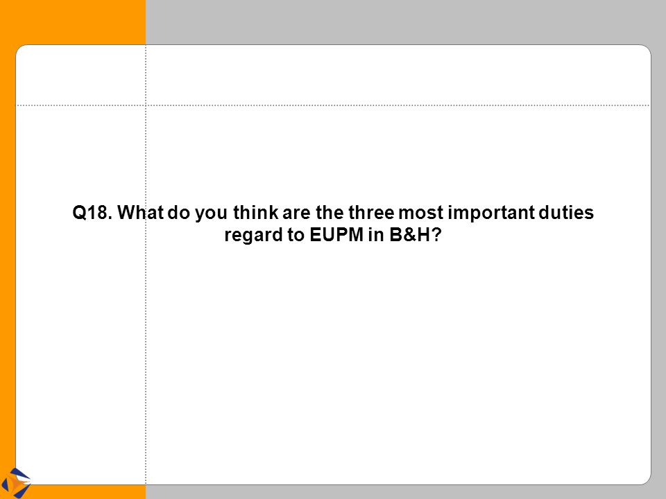 Q18. What do you think are the three most important duties regard to EUPM in B&H?
