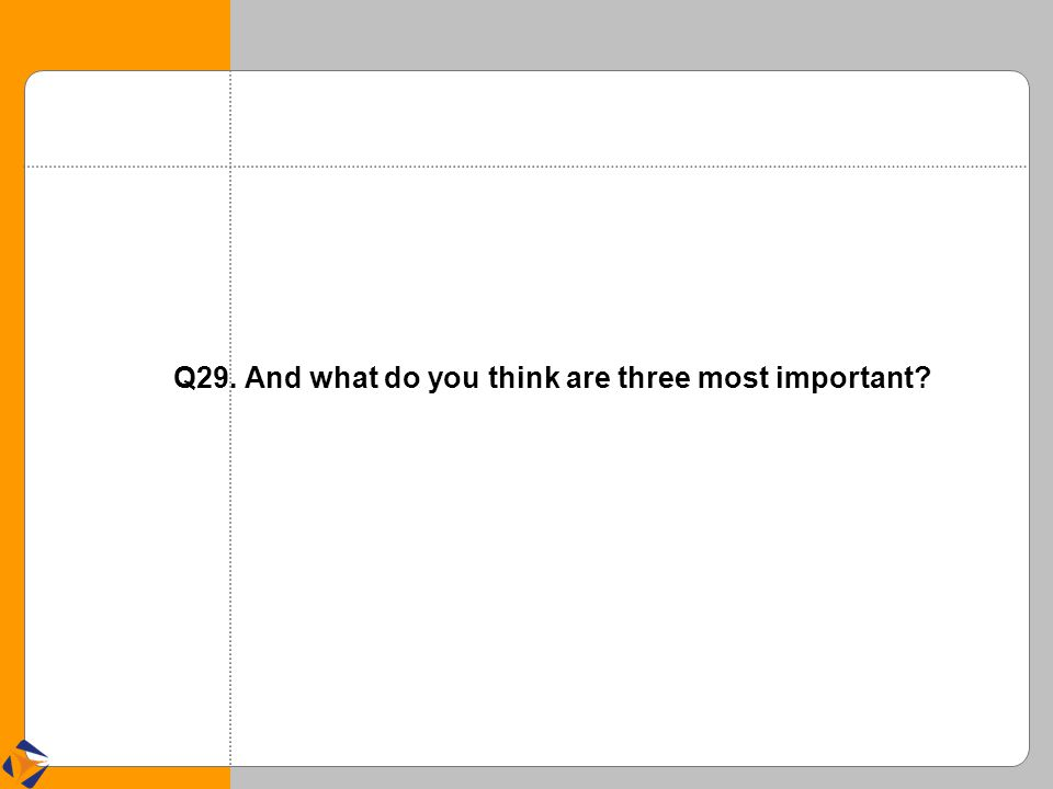 Q29. And what do you think are three most important?