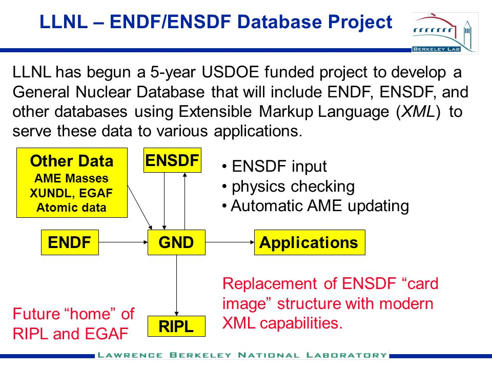 LLNL – ENDF/ENSDF Database Project LLNL has begun a 5-year USDOE funded project to develop a General Nuclear Database that will include ENDF, ENSDF, and other databases using Extensible Markup Language (XML) to serve these data to various applications.