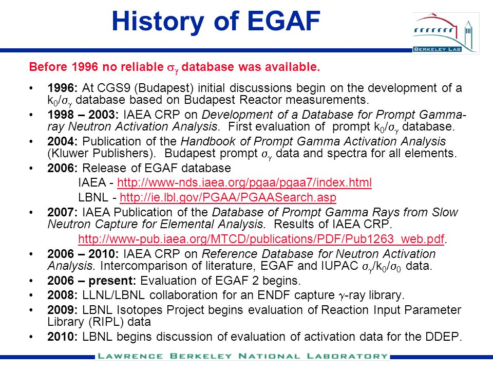 History of EGAF Before 1996 no reliable   database was available.