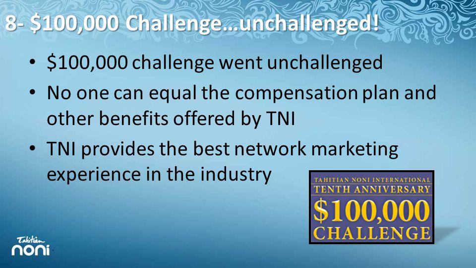 8- $100,000 Challenge…unchallenged.