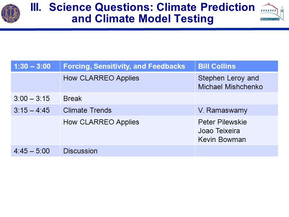 III. Science Questions: Climate Prediction and Climate Model Testing 1:30 – 3:00Forcing, Sensitivity, and FeedbacksBill Collins How CLARREO AppliesSte