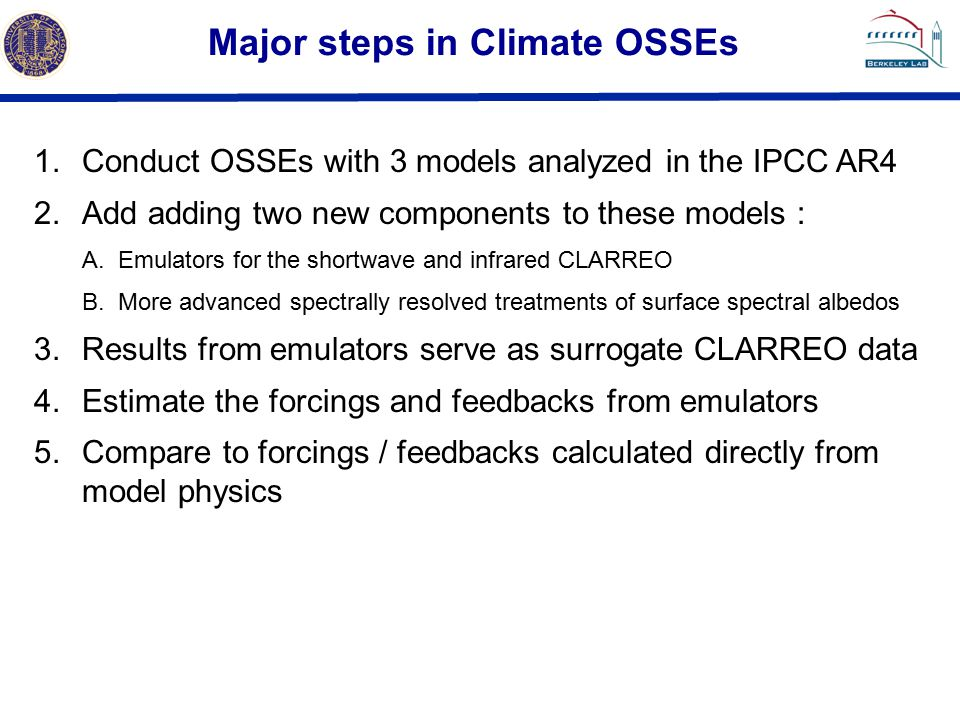 Major steps in Climate OSSEs 1.Conduct OSSEs with 3 models analyzed in the IPCC AR4 2.Add adding two new components to these models : A.Emulators for the shortwave and infrared CLARREO B.More advanced spectrally resolved treatments of surface spectral albedos 3.Results from emulators serve as surrogate CLARREO data 4.Estimate the forcings and feedbacks from emulators 5.Compare to forcings / feedbacks calculated directly from model physics