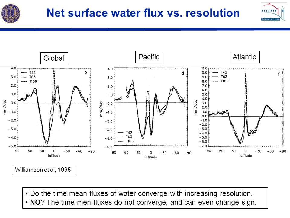Net surface water flux vs. resolution Global PacificAtlantic Williamson et al, 1995 Do the time-mean fluxes of water converge with increasing resoluti