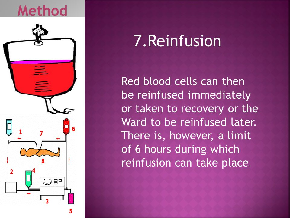 Red blood cells can then be reinfused immediately or taken to recovery or the Ward to be reinfused later. There is, however, a limit of 6 hours during