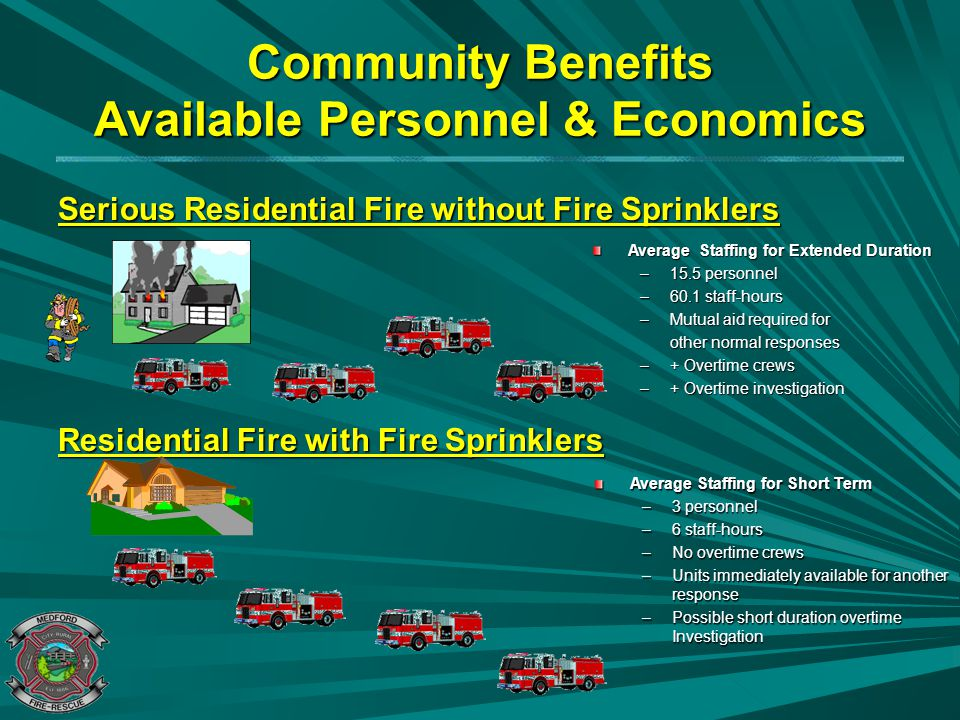 Community Benefits Available Personnel & Economics Serious Residential Fire without Fire Sprinklers Residential Fire with Fire Sprinklers Average Staf