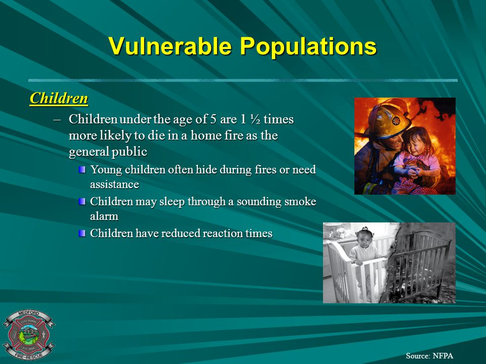 Vulnerable Populations Source: NFPA Older Adults –The elderly are nearly 3 times more likely to die in a home fire as the general public Older adults may suffer from reduced sensory abilities such as smell, touch, vision, and hearing –Inability to smell smoke –Inability to feel if something is hot –Inability to see fires or notice fire causes –Inability to hear smoke alarms or fire sounds Older adults may suffer from disabilities Older adults have reduced reaction times