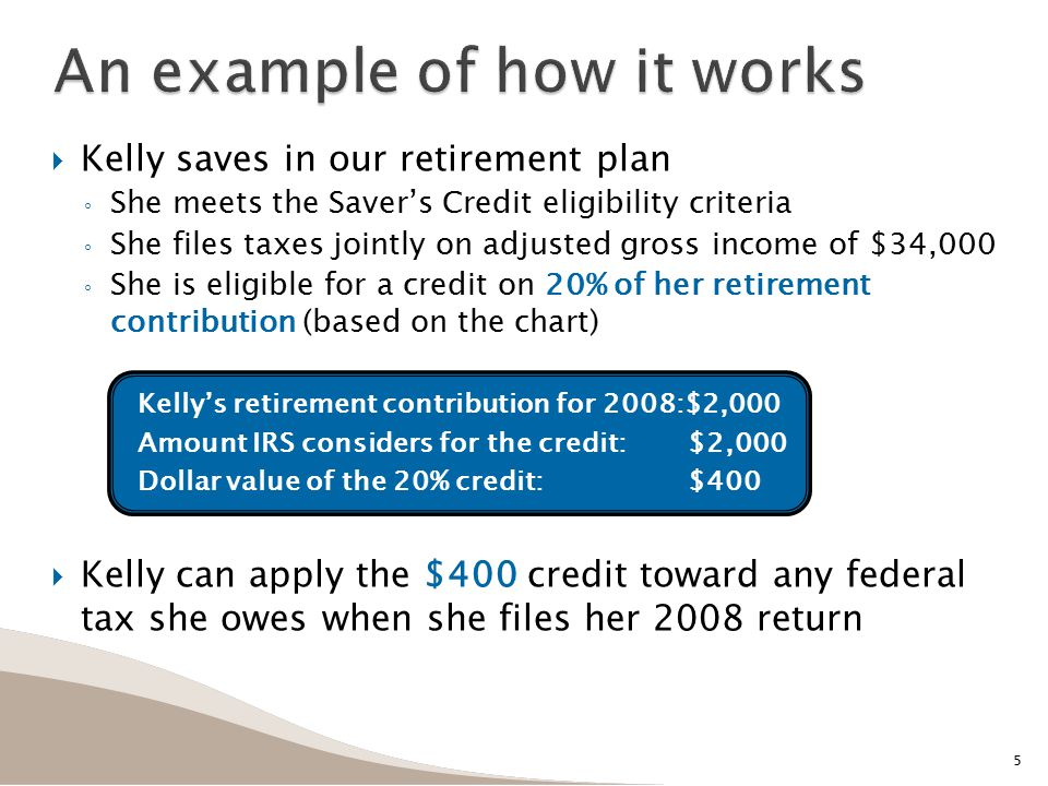  Kelly saves in our retirement plan ◦ She meets the Saver's Credit eligibility criteria ◦ She files taxes jointly on adjusted gross income of $34,000 ◦ She is eligible for a credit on 20% of her retirement contribution (based on the chart) Kelly's retirement contribution for 2008:$2,000 Amount IRS considers for the credit:$2,000 Dollar value of the 20% credit:$400  Kelly can apply the $400 credit toward any federal tax she owes when she files her 2008 return An example of how it works 5
