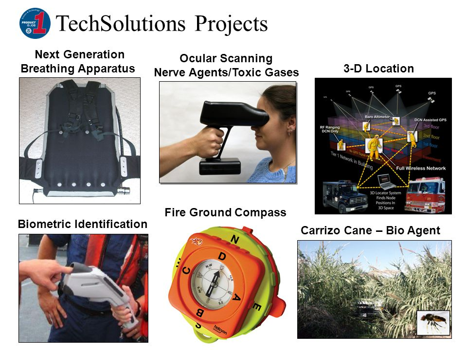 TechSolutions Projects 3-D Location Ocular Scanning Nerve Agents/Toxic Gases Next Generation Breathing Apparatus Biometric Identification Fire Ground Compass Carrizo Cane – Bio Agent
