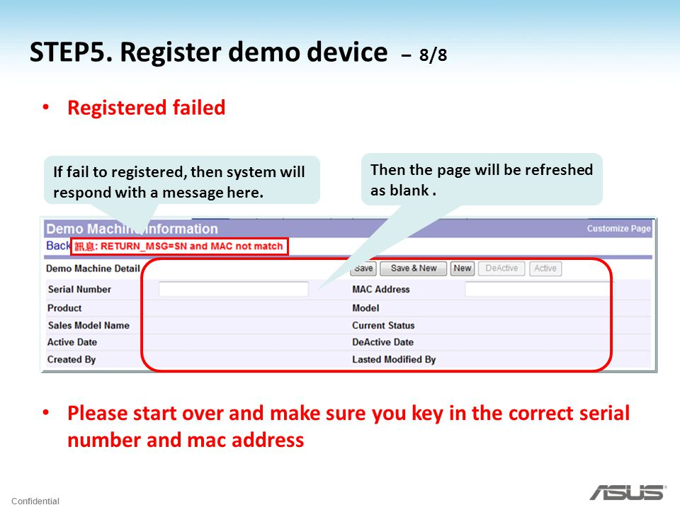 Confidential If fail to registered, then system will respond with a message here.