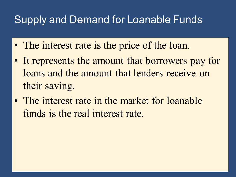 Supply and Demand for Loanable Funds The interest rate is the price of the loan.