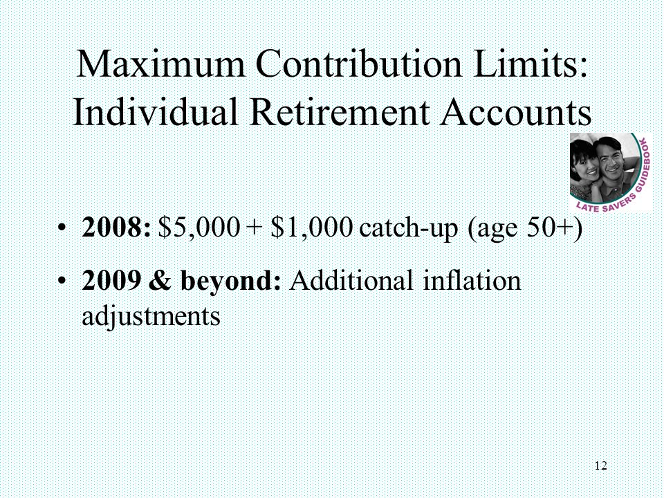 12 Maximum Contribution Limits: Individual Retirement Accounts 2008: $5,000 + $1,000 catch-up (age 50+) 2009 & beyond: Additional inflation adjustment