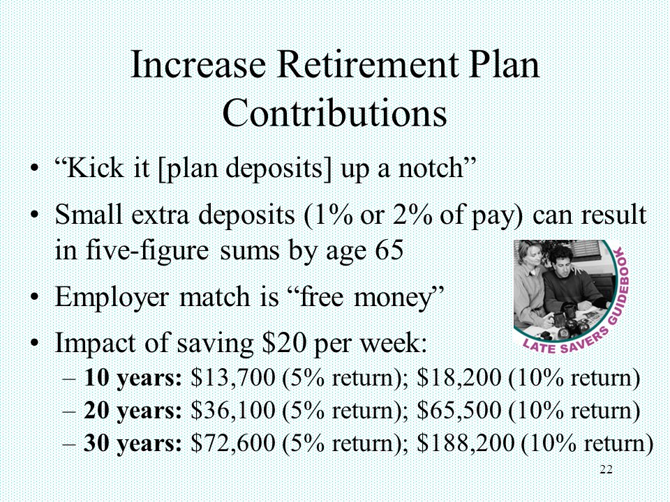 "22 Increase Retirement Plan Contributions ""Kick it [plan deposits] up a notch"" Small extra deposits (1% or 2% of pay) can result in five-figure sums b"