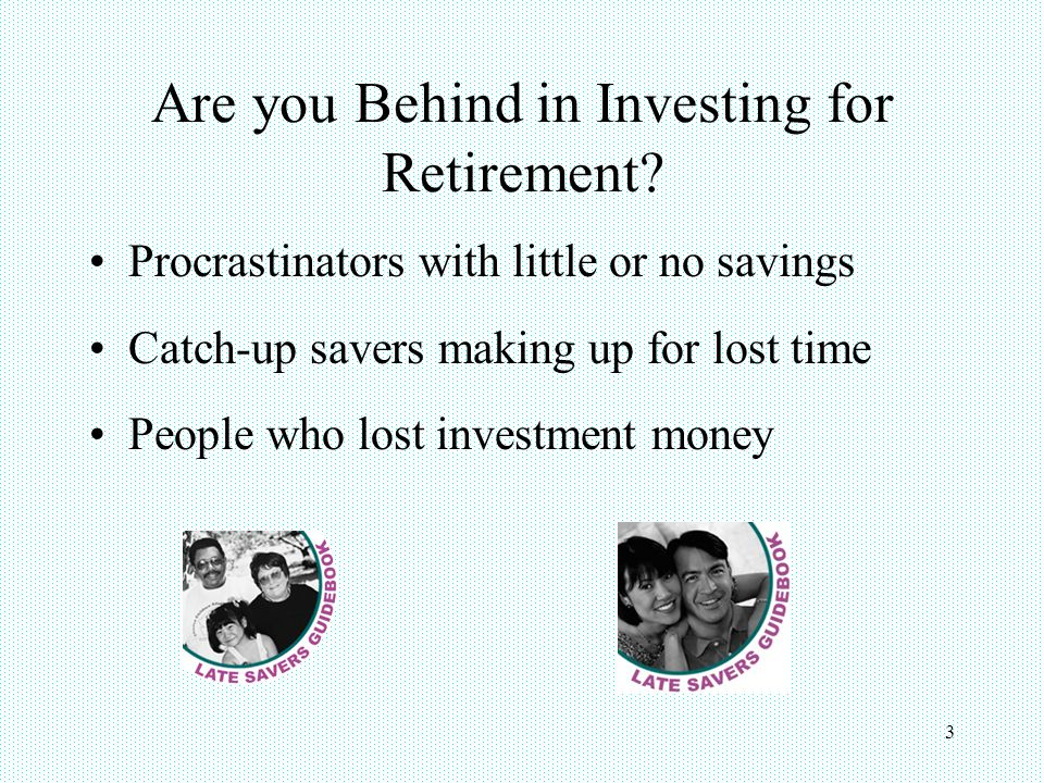 4 Topics Amount of money needed to retire Retirement planning tools Tax incentives for catch-up savers Strategies to increase retirement savings Strategies to stretch retirement income Retirement catch-up resources