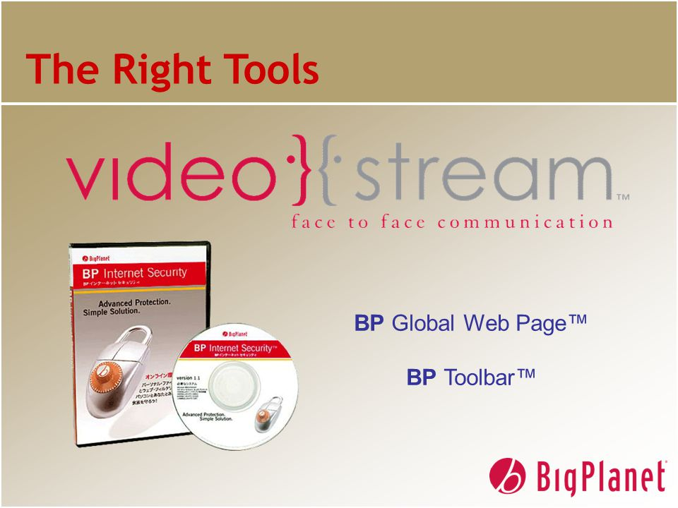 The Right Tools BP Global Web Page™ BP Toolbar™