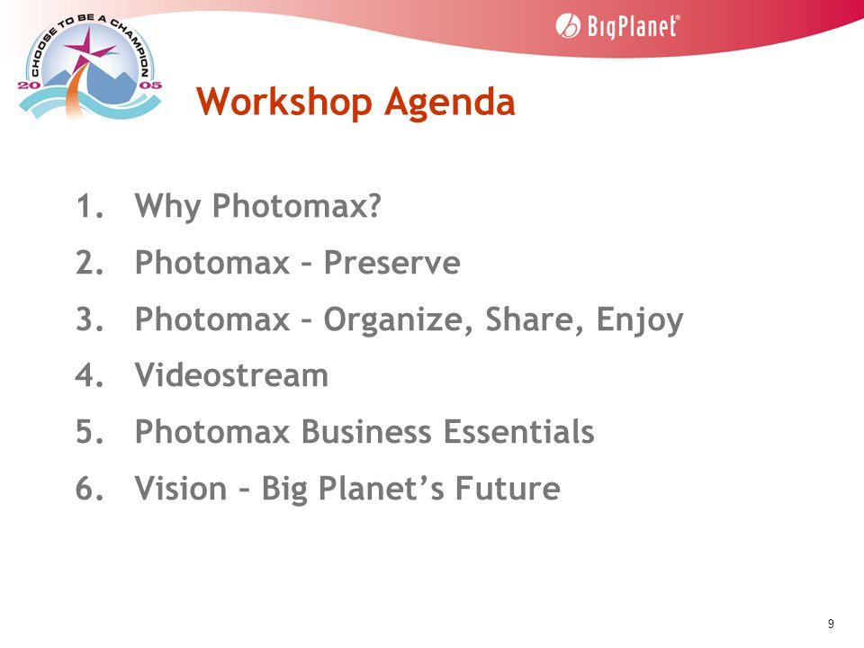 9 Workshop Agenda 1. Why Photomax. 2. Photomax – Preserve 3.