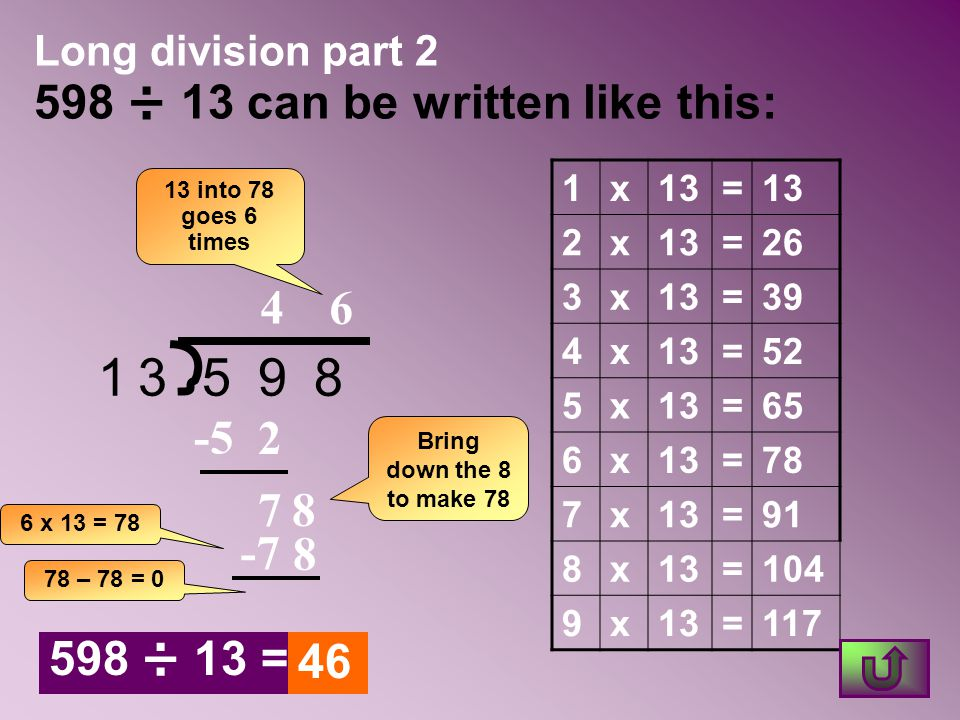 Long division part 2 598 ÷ 13 can be written like this: 13598 13 into 78 goes 6 times 4 6 2 -5 7 Bring down the 8 to make 78 8 -7 8 1x13= 2x =26 3x13=
