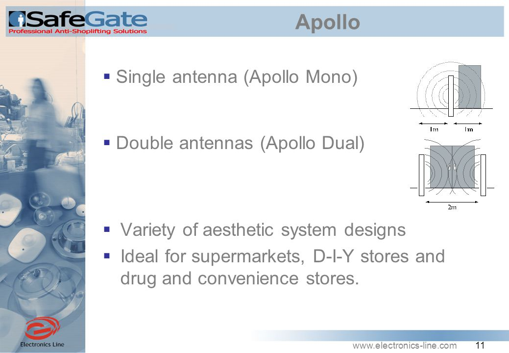 www.electronics-line.com 11 Apollo  Variety of aesthetic system designs  Ideal for supermarkets, D-I-Y stores and drug and convenience stores.