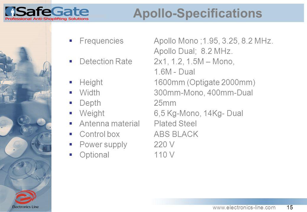 www.electronics-line.com 15 Apollo-Specifications  Frequencies Apollo Mono ;1.95, 3.25, 8.2 MHz.