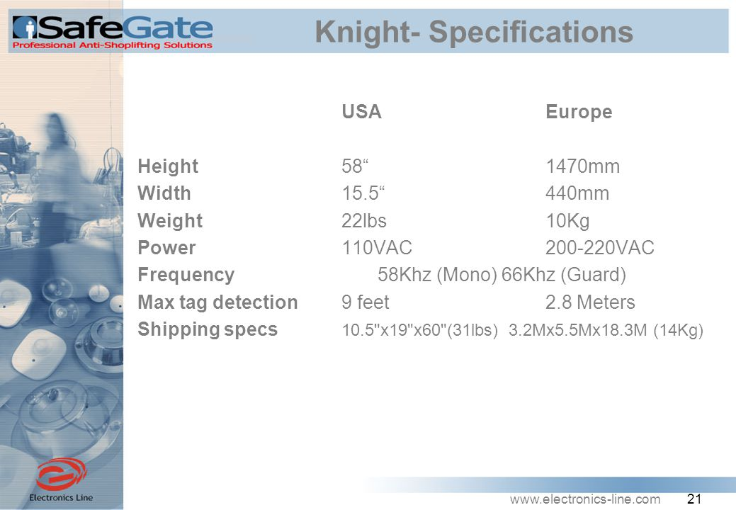 www.electronics-line.com 21 Knight- Specifications USA Europe Height58 1470mm Width15.5 440mm Weight22lbs10Kg Power110VAC200-220VAC Frequency 58Khz (Mono) 66Khz (Guard) Max tag detection9 feet2.8 Meters Shipping specs 10.5 x19 x60 (31lbs) 3.2Mx5.5Mx18.3M (14Kg)