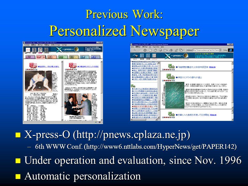 Previous Work: Personalized Newspaper n X-press-O (http://pnews.cplaza.ne.jp) –6th WWW Conf.