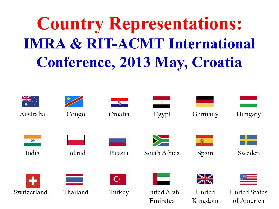 International Management Research Academy (IMRA) London, United Kingdom in collaboration with Rochester Institute of Technology (RIT) American College of Management & Technology (ACMT) Zagreb, Croatia Presents IMRA International Conference: 16-17 May, 2013 Management in an Interconnected World Twit hash tag: #IMRAZagreb