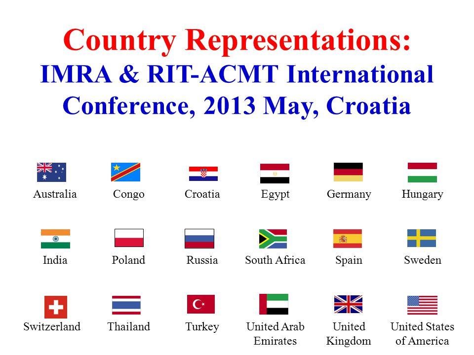 AustraliaCongoCroatiaEgyptGermanyHungary IndiaPolandRussiaSouth AfricaSpainSweden SwitzerlandThailandTurkeyUnited Arab Emirates United Kingdom United States of America Country Representations: IMRA & RIT-ACMT International Conference, 2013 May, Croatia