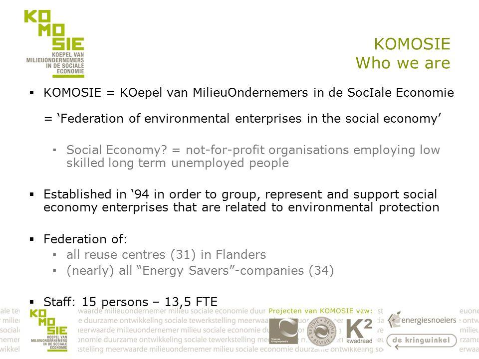KOMOSIE Who we are  KOMOSIE = KOepel van MilieuOndernemers in de SocIale Economie = 'Federation of environmental enterprises in the social economy' ▪Social Economy.