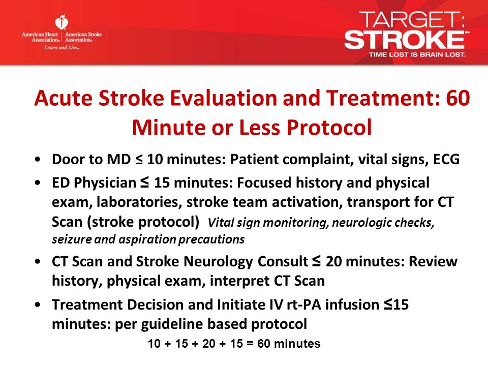 Acute Stroke Evaluation and Treatment: 60 Minute or Less Protocol Door to MD ≤ 10 minutes: Patient complaint, vital signs, ECG ED Physician ≤ 15 minutes: Focused history and physical exam, laboratories, stroke team activation, transport for CT Scan (stroke protocol) Vital sign monitoring, neurologic checks, seizure and aspiration precautions CT Scan and Stroke Neurology Consult ≤ 20 minutes: Review history, physical exam, interpret CT Scan Treatment Decision and Initiate IV rt-PA infusion ≤ 15 minutes: per guideline based protocol 10 + 15 + 20 + 15 = 60 minutes