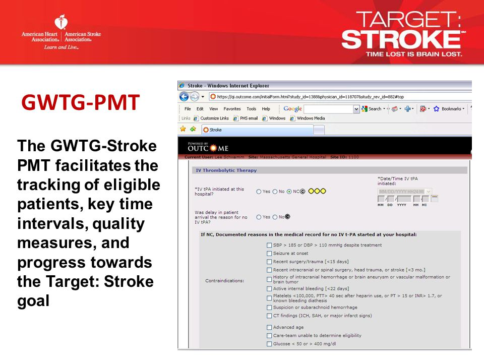 The GWTG-Stroke PMT facilitates the tracking of eligible patients, key time intervals, quality measures, and progress towards the Target: Stroke goal GWTG-PMT