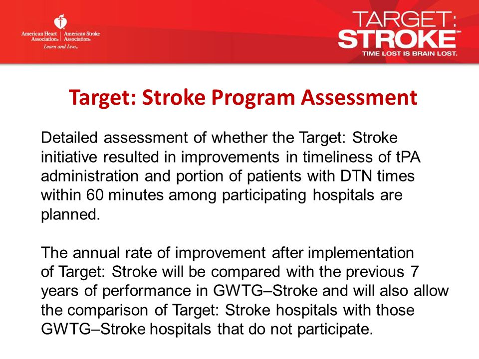 Detailed assessment of whether the Target: Stroke initiative resulted in improvements in timeliness of tPA administration and portion of patients with DTN times within 60 minutes among participating hospitals are planned.