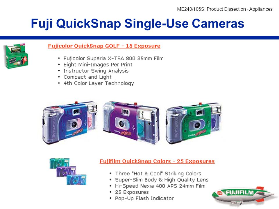 ME240/106S: Product Dissection - Appliances Fuji QuickSnap Single-Use Cameras