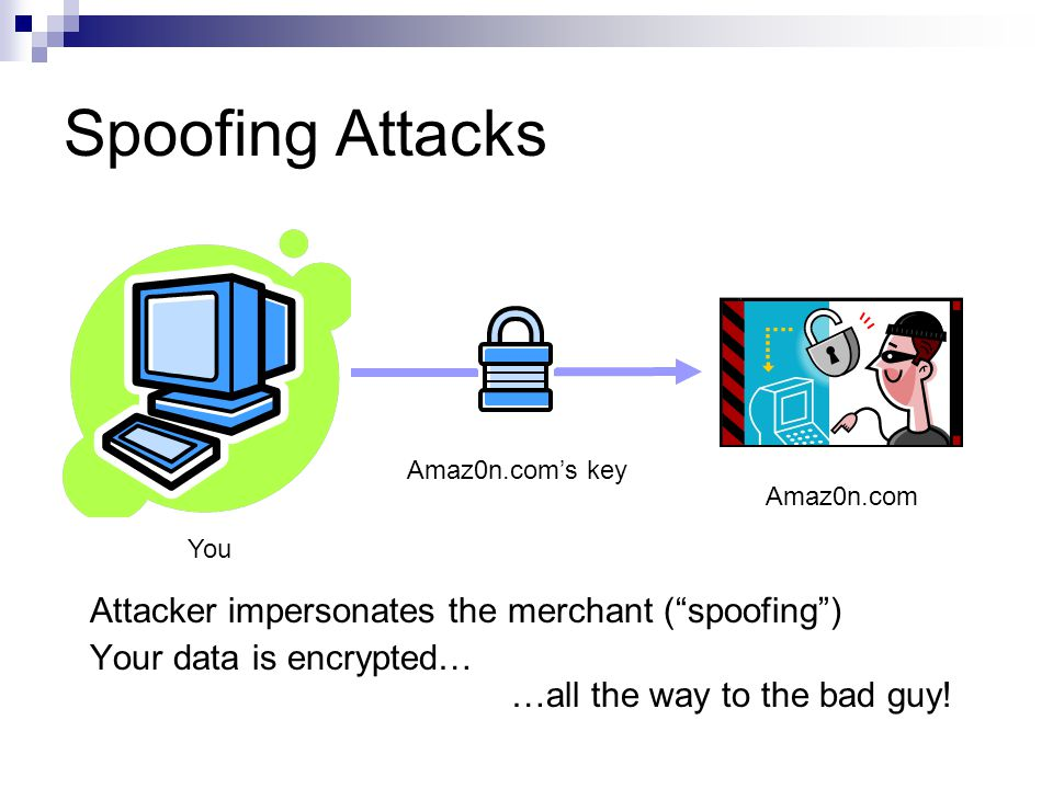 """Spoofing Attacks You Amaz0n.com Attacker impersonates the merchant (""""spoofing"""") Your data is encrypted… …all the way to the bad guy! Amaz0n.com's key"""