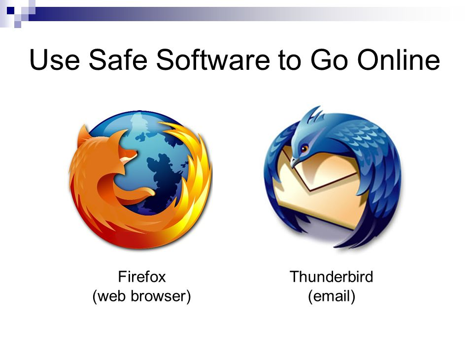 Use Safe Software to Go Online Firefox (web browser) Thunderbird (email)
