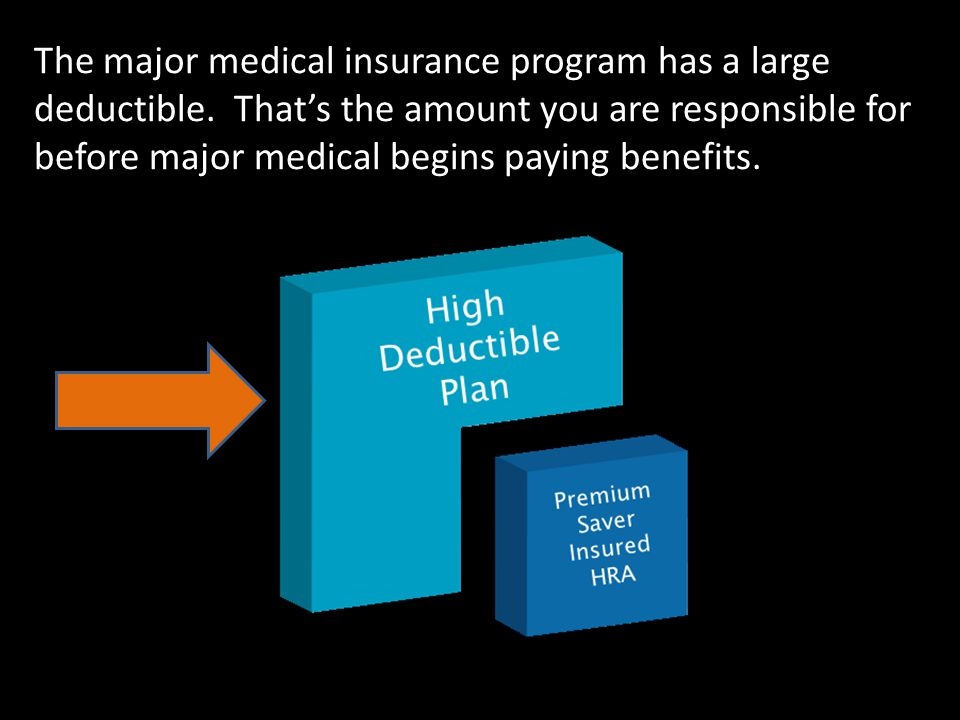 The major medical insurance program has a large deductible.