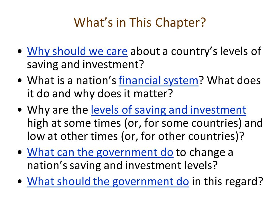 What's in This Chapter? Why should we care about a country's levels of saving and investment?Why should we care What is a nation's financial system? W