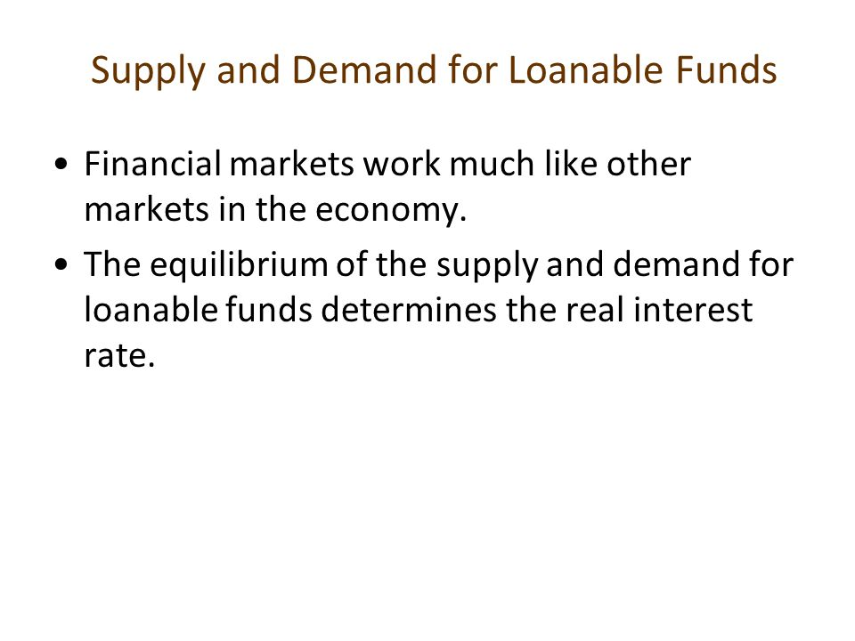 Supply and Demand for Loanable Funds Financial markets work much like other markets in the economy. The equilibrium of the supply and demand for loana