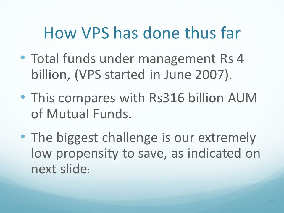 How VPS has done thus far Total funds under management Rs 4 billion, (VPS started in June 2007).