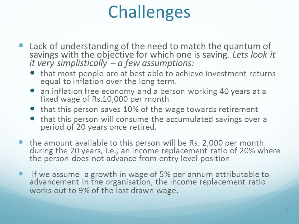 Challenges Lack of understanding of the need to match the quantum of savings with the objective for which one is saving.