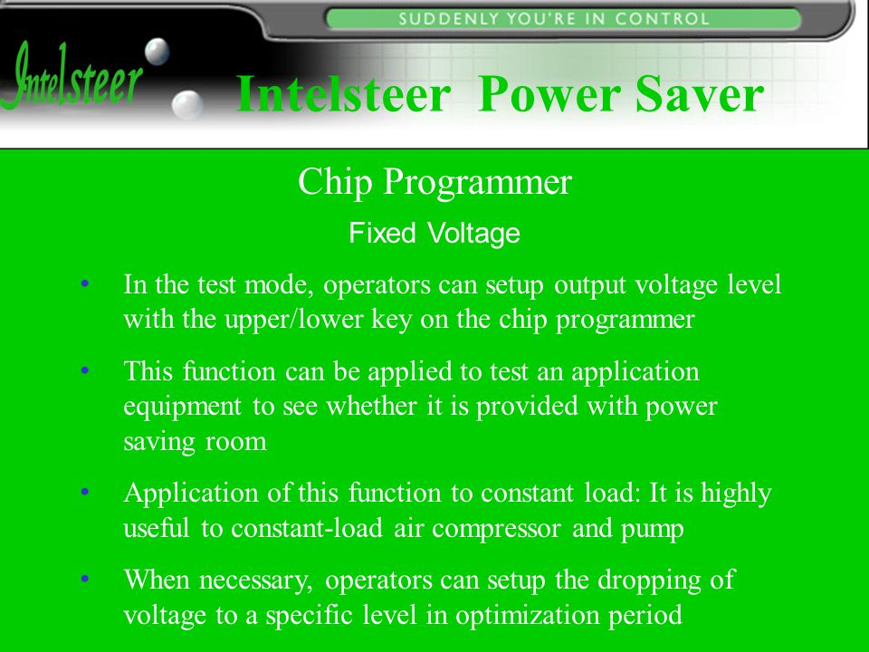 Fixed Voltage In the test mode, operators can setup output voltage level with the upper/lower key on the chip programmer This function can be applied