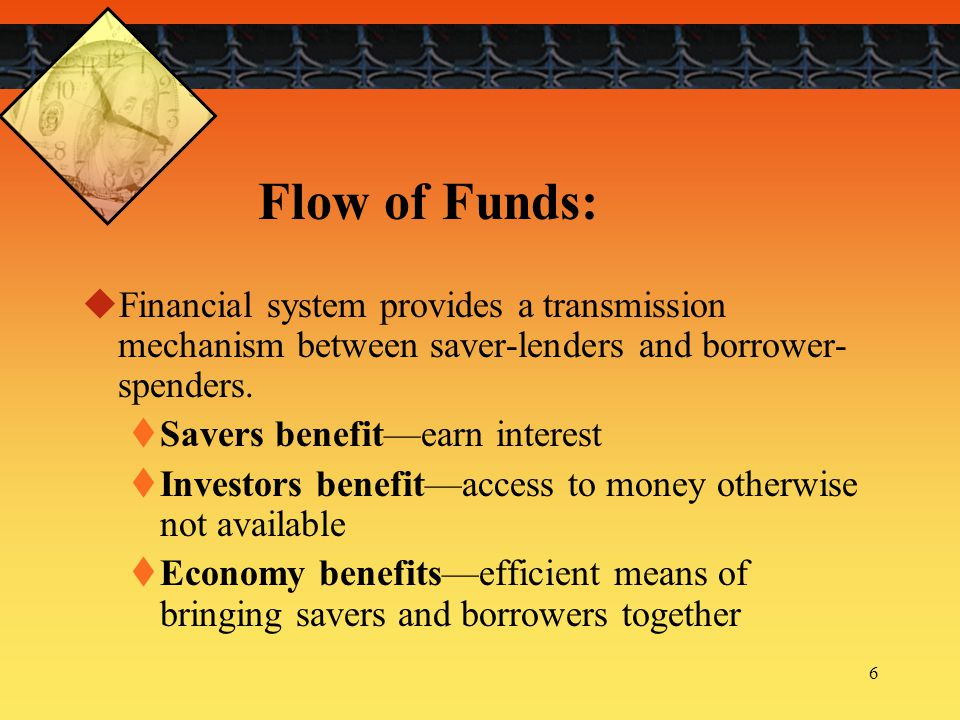 17 Role of Financial Intermediaries:  Act as agents in transferring funds from savers- lenders to borrowers-spenders.