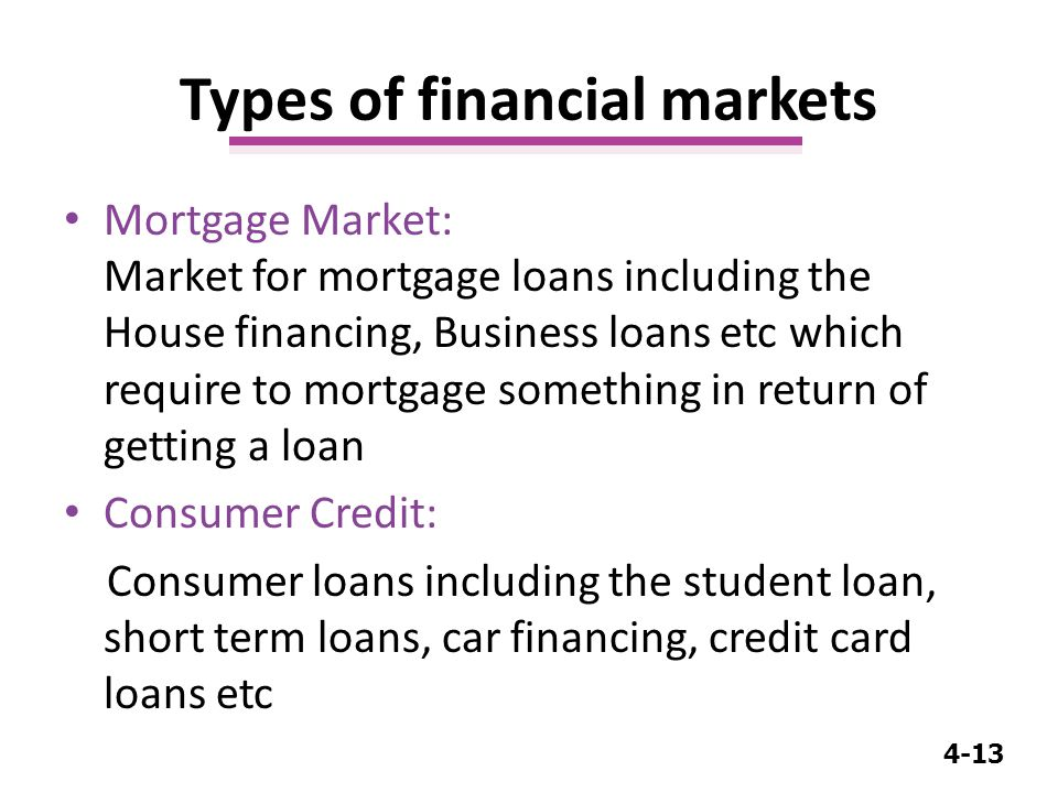 4-13 Mortgage Market: Market for mortgage loans including the House financing, Business loans etc which require to mortgage something in return of getting a loan Consumer Credit: Consumer loans including the student loan, short term loans, car financing, credit card loans etc Types of financial markets