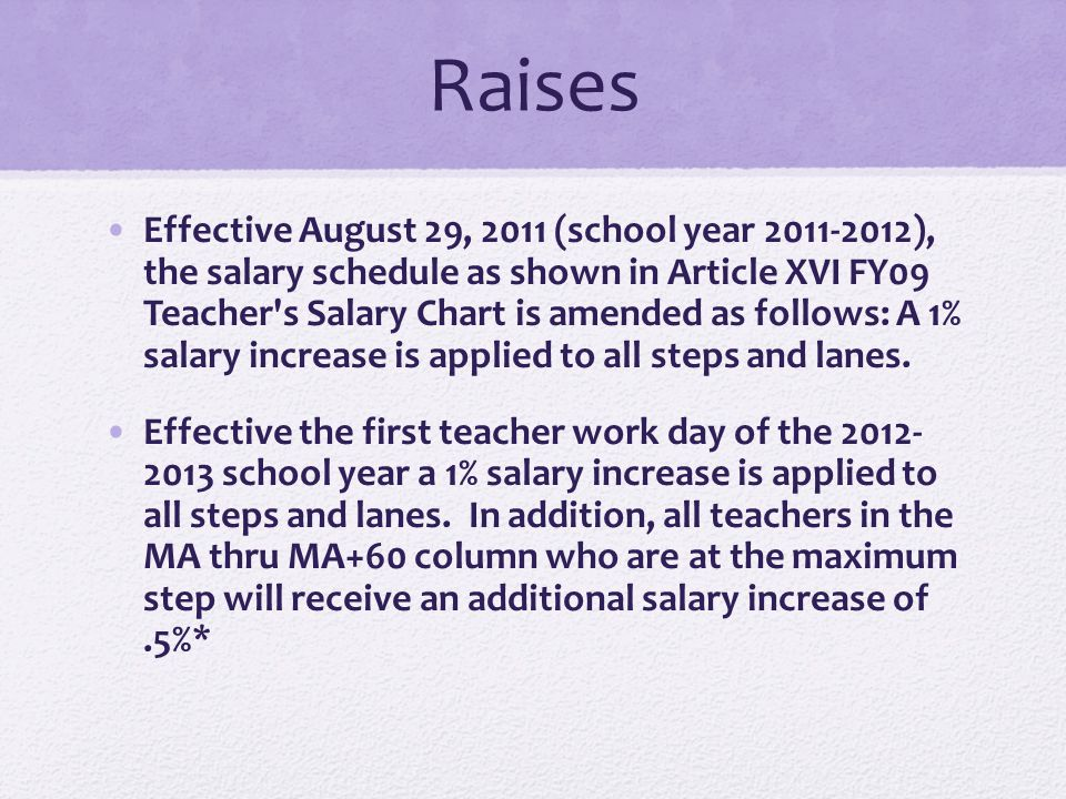 Raises Effective August 29, 2011 (school year 2011-2012), the salary schedule as shown in Article XVI FY09 Teacher's Salary Chart is amended as follow