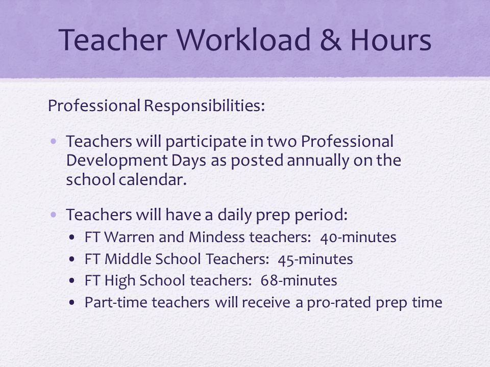 Teacher Workload & Hours Professional Responsibilities: Teachers will participate in two Professional Development Days as posted annually on the schoo