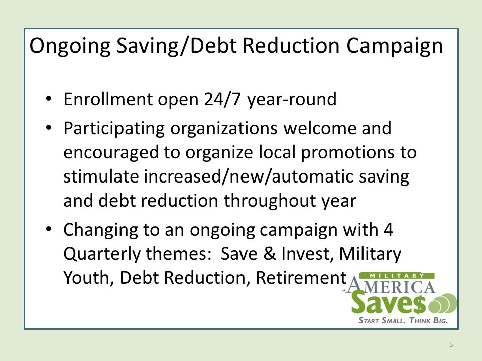 5 Ongoing Saving/Debt Reduction Campaign Enrollment open 24/7 year-round Participating organizations welcome and encouraged to organize local promotions to stimulate increased/new/automatic saving and debt reduction throughout year Changing to an ongoing campaign with 4 Quarterly themes: Save & Invest, Military Youth, Debt Reduction, Retirement