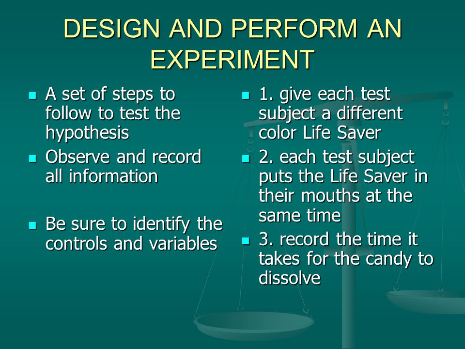 CONTROLS AND VARIABLES CONTROLS CONTROLS The standard to which the outcome of a test is compared The standard to which the outcome of a test is compared What you measure against What you measure against VARIABLES Something in an experiment that can change The color of the Life Saver