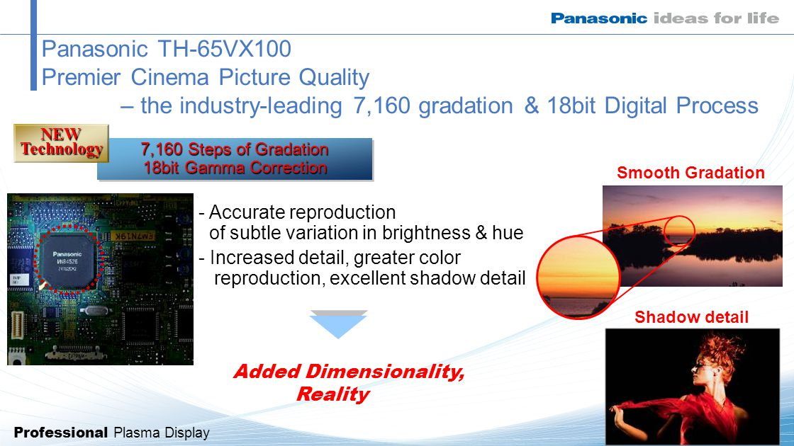 Professional Plasma Display Panasonic TH-65VX100 Premier Cinema Picture Quality – the industry-leading 7,160 gradation & 18bit Digital Process 7,160 Steps of Gradation 18bit Gamma Correction NEWTechnology - Accurate reproduction of subtle variation in brightness & hue - Increased detail, greater color reproduction, excellent shadow detail Added Dimensionality, Reality Shadow detail Smooth Gradation