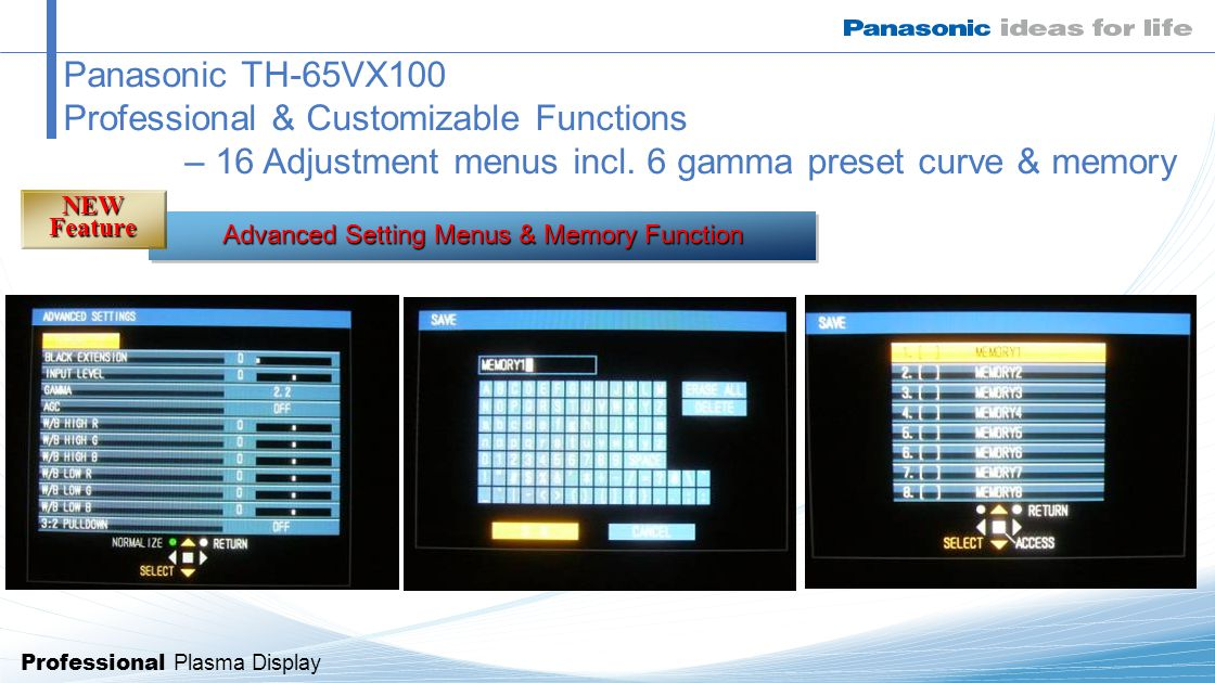 Professional Plasma Display Panasonic TH-65VX100 Professional & Customizable Functions – 16 Adjustment menus incl.