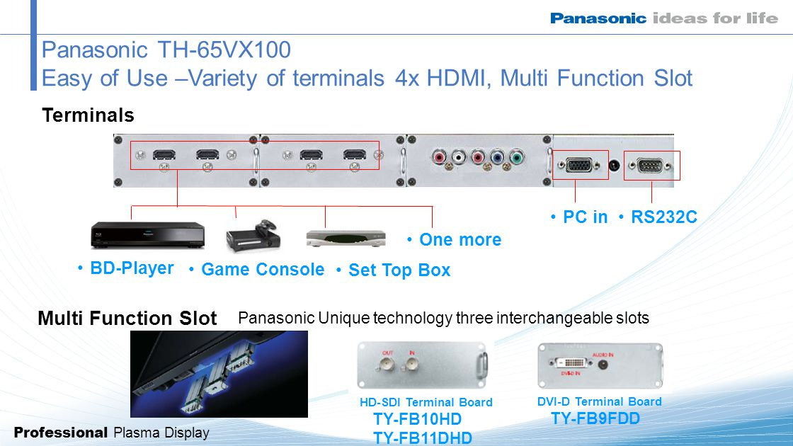 Professional Plasma Display BD-Player Game Console Set Top Box Panasonic TH-65VX100 Easy of Use –Variety of terminals 4x HDMI, Multi Function Slot One more RS232C PC in Multi Function Slot Terminals Panasonic Unique technology three interchangeable slots DVI-D Terminal Board TY-FB9FDD HD-SDI Terminal Board TY-FB10HD TY-FB11DHD